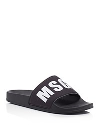 Msgm Logo Slide Sandals Black White
