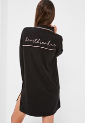 Missguided Black Piped Nightshirt