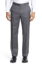 Nordstrom Men's Men's Shop Flat Front Wool Trousers Light Grey