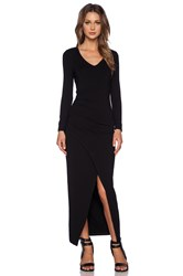 Bardot Front Slit Maxi Dress Black