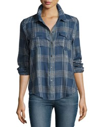 Paige Mya Metallic Plaid Shirt Dark Slate Blue Stone Dark Slate Blue