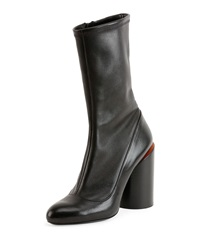 Leather Wide Heel Show Boot Black Red Givenchy