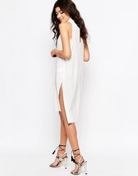 Never Fully Dressed Cowl Neck Shift Dress With Cut Out Back White