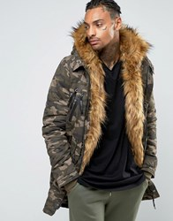 Sixth June Parka With Faux Fur Hood And Lining Khaki Green