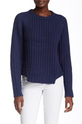 Marc By Marc Jacobs Notched Wool Blend Knit Sweater Purple