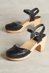 Anthropologie Swedish Hasbeens Fringy Clogs Black 38 Euro Wedges