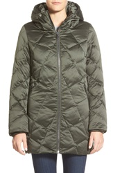 Kristen Blake Hooded Diamond Quilted A Line Down Coat Loden
