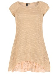 Izabel London Knit Tunic Top With Frilled Under Layer Beige