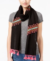 Collection Xiix Pop Of Embroidery Scarf Black Bright