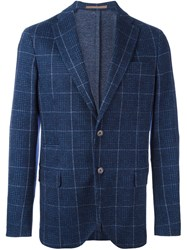 Eleventy Checked Single Button Blazer Blue