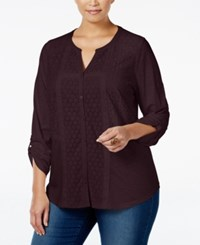 Styleandco. Style Co. Plus Size Plus Size Lace Trim Top Only At Macy's Dried Plum