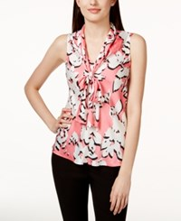 Nine West Tie Neck Floral Print Shell