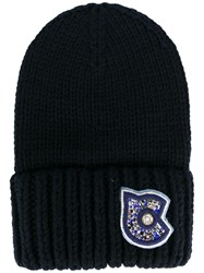 Coach Ribbed Beanie Blue