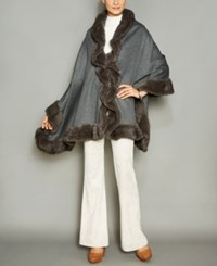 The Fur Vault Knitted Mink Trim Wool Blend Cape Grey