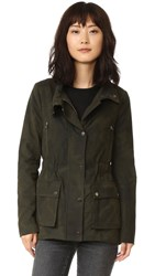 Veronica Beard Glade Funnel Neck Jacket Army Green Camo
