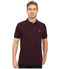 Lacoste Short Sleeve Original Heathered Pique Polo Bougainvillea Mouline Men's Clothing Brown