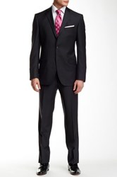 Ted Baker Jones Charcoal Pinstripe Two Button Notch Lapel Wool Suit Black