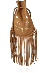 Charlotte Olympia Kitty Fringed Leather Pouch