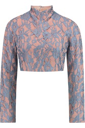 Emilia Wickstead Open Back Cropped Guipure Lace And Crepe Top Blue