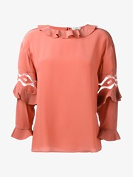 Fendi Silk Blouse With Ruffles Peach Transparent Coral