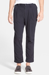White Mountaineering Stretch Twill Pleated Crop Pants Navy