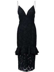 Christian Siriano Geometric Ruffled Peplum Dress Black