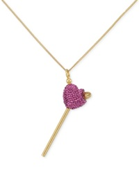 Sis By Simone I Smith Sis By Simone I. Smith Pink Crystal Heart Lollipop Small Pendant Necklace In 18K Gold Over Sterling Silver