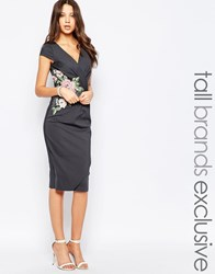 Paper Dolls Tall Wrap Plunge Dress With Floral Embroidered Waist Grey