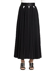 Givenchy Pleated Wool Maxi Skirt Black