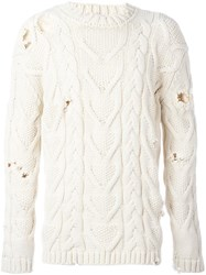 Palm Angels Fisherman Cable Knitted Pullover Nude And Neutrals