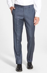 Men's Nordstrom Flat Front Solid Wool Trousers Blue