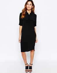 Warehouse Military Shirt Dress Black
