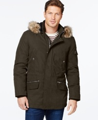 Nautica Parka With Removable Faux Fur Hood Olive