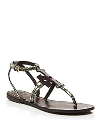 Tory Burch Flat Thong Sandals Chandler Black White Coconut