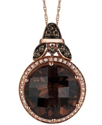 Le Vian Smokey Quartz 8 1 2 Ct. T.W. And White 1 10 Ct. T.W. And Chocolate 1 6 Ct. T.W. Diamond Pendant Necklace In 14K Rose Gold