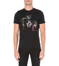 Paul Smith Ps By Animal Head Print Cotton Jersey T Shirt Black