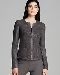 Armani Collezioni Jacket Twill Front Leather Grey