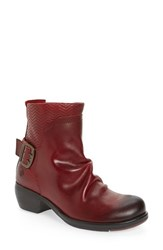 Fly London Women's 'Melb' Slouchy Buckle Strap Bootie Red Rug Leather