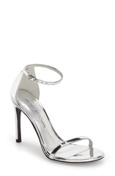 Stuart Weitzman Women's 'Nudistsong' Ankle Strap Sandal Silver Leather