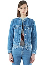 Acne Studios Top Ind Frayed Denim Jacket Blue