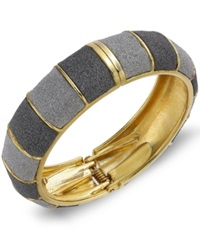 Abs By Allen Schwartz Gold Tone Gray Textured Bangle Bracelet