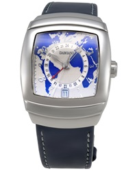 Damiani Leather Strap Watch W Stainless Steel World Map Dial Blue White