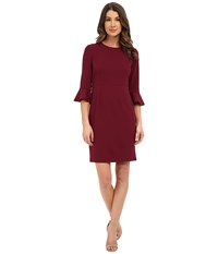 Donna Morgan 3 4 Bell Sleeve Crepe Shift Dress Currant Women's Dress Red