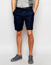 Asos Slim Shorts In Washed Cotton Navy