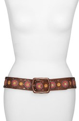 Lucky Brand Women's 'Moroccan Star' Embroidered Leather Belt