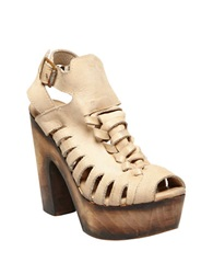 Freebird Congo Leather Platform Sandals Taupe