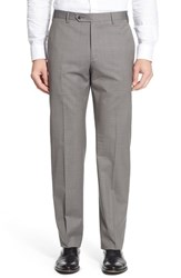 Zanella Men's 'Devon' Flat Front Plaid Wool Trousers Light Grey