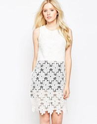 Parisian Floral Crochet Tunic White