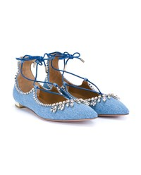 Aquazzura Christy Denim Flats Blue Light Blue Denim