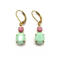 Zt Pastel Green And Pink Vintage Stone Earrings